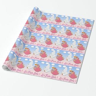 Doppelmädchen-Storch-Babyparty-Packpapier Geschenkpapier