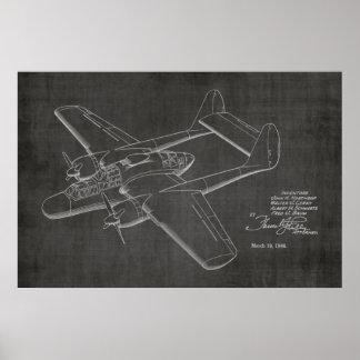 Doppelpatent-Kunst des flugzeug-1946, die Druck Poster