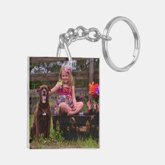 Doppelseitiges Foto-Schlüsselkette Beidseitiger Quadratischer Acryl Schlüsselanhänger