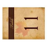 Doppelseitiges Herbst-Blätter auf gealterter Papie Postkarten