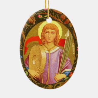 Doppelseitiges St. Florian von Lorch (P.M. 03) Ovales Keramik Ornament