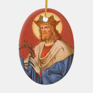 Doppelseitiges St. Louis IX der König (P.M. 05) Keramik Ornament