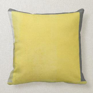 """""""Doppelt-"""" graue und gelbe abstrakte Kunst Kissen"""