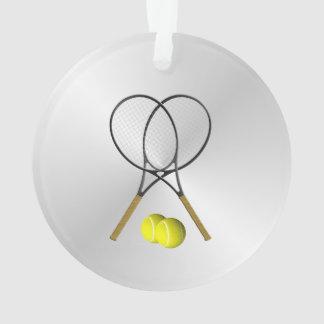 Doppelt-Tennis-Sport-Thema-Silber Ornament