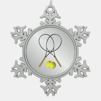 Doppelt-Tennis-Sport-Thema-Silber Schneeflocken Zinn-Ornament