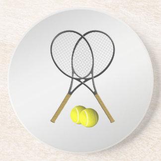 Doppelt-Tennis-Sport-Thema-Silber Untersetzer