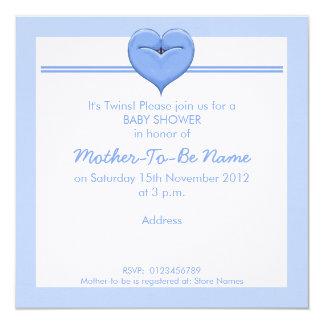 Doppeltauben-Herz-blaue Babyparty-Einladung Quadratische 13,3 Cm Einladungskarte