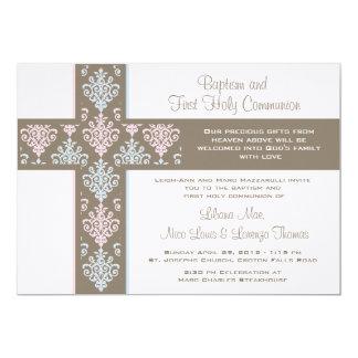 Doppeltaufe und erste Kommunions-Einladung 12,7 X 17,8 Cm Einladungskarte