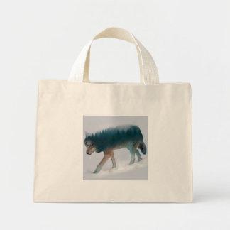 Doppelte Belichtung des Wolfs - Wolfwald - Wolf Mini Stoffbeutel