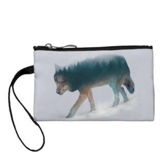 Doppelte Belichtung des Wolfs - Wolfwald - Wolf Münzbeutel