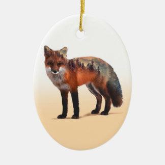 Doppelte Belichtung Fox - Fuchskunst - roter Fuchs Keramik Ornament
