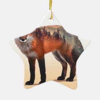Doppelte Belichtung Fox - Fuchskunst - roter Fuchs Keramik Stern-Ornament