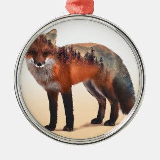 Doppelte Belichtung Fox - Fuchskunst - roter Fuchs Rundes Silberfarbenes Ornament