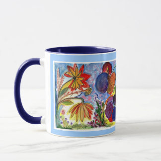 Doppelte blaue und orange Blumen-Tasse Tasse