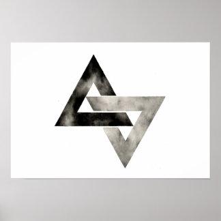 Doppelte Dreiecke. Modern. Minimal. Geometrisch Poster