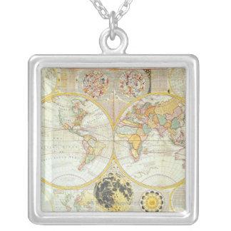 Doppelte Hemisphäre-Weltkarte Halskette Mit Quadratischem Anhänger