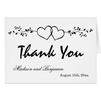 Doppelte Herz-personalisierte Hochzeit danken Mitteilungskarte