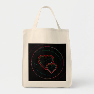 Doppelte Herzen im Schwarzen Einkaufstasche