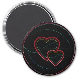 Doppelte Herzen im Schwarzen Kühlschrankmagnete