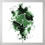 Doppelte Herzen u. Blumen - Grün Posterdruck