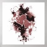 Doppelte Herzen u. Blumen - Rot Plakatdrucke