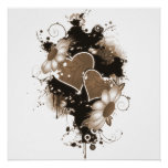 Doppelte Herzen u. Blumen - Sepia Brown Plakat