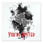 Doppelte Herzen u. Gänseblümchen - graues B&W Quadratische 13,3 Cm Einladungskarte