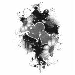Doppelte Herzen u. Gänseblümchen - graues B&W Fotostatue