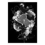 Doppelte Herzen u. Gänseblümchen - graues B&W Karten