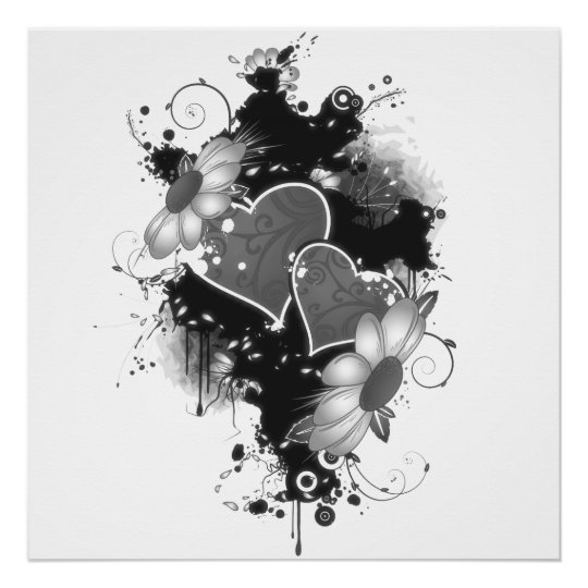 Doppelte Herzen u. Gänseblümchen - graues B&W Poster