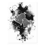 Doppelte Herzen u. Gänseblümchen - graues B&W Mini-Visitenkarten