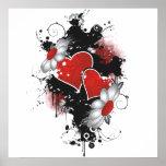 Doppelte Herzen u. Gänseblümchen - ursprüngliche F Plakatdruck