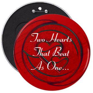 Doppelte Herzen zwei Herzen, die als eins schlugen Buttons