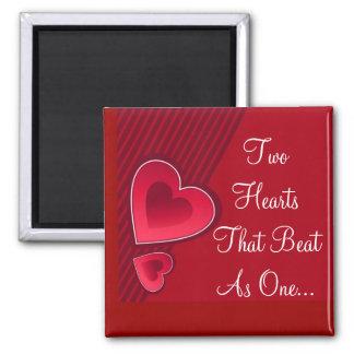 Doppelte Herzen zwei Herzen, die als eins schlugen Magnete