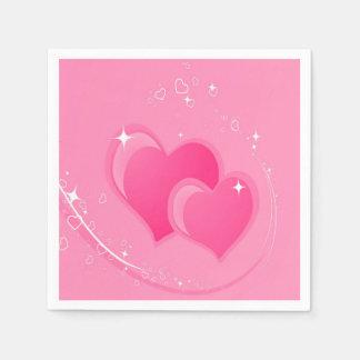 Doppelte rosa Herzen Papierserviette