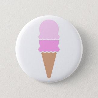 Doppelte Schaufel-Eistüte - Rosa Runder Button 5,1 Cm