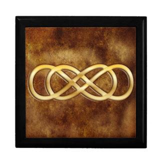 Doppelte Unendlichkeit im Gold auf Brown-Leder-Ent Große Quadratische Schatulle