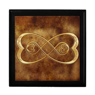 Doppelte Unendlichkeits-Goldherzen - Brown-Leder-E Große Quadratische Schatulle