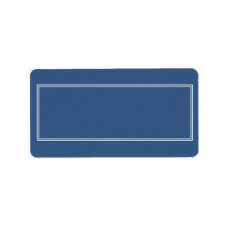 Doppelte weiße beschattete Grenze auf Iris-Blau Adressaufkleber