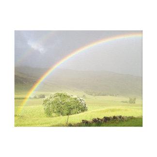 Doppelter Regenbogen in Glenshee Schottland Leinwanddruck