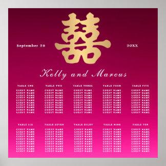 Doppelter Wedding Sitzplatz-Plan des Glück-| Poster