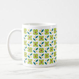 Doppeltes Blumen-Muster-Grün Kaffeetasse