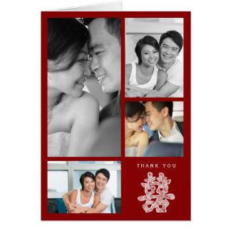 Doppeltes Glück-chinesische Hochzeit danken Ihnen Karte