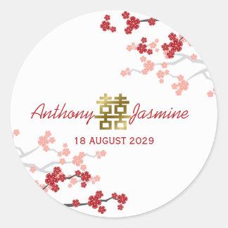 Doppeltes Glück-chinesischer Hochzeits-Aufkleber Runder Aufkleber