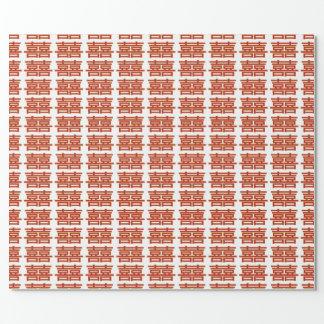 Doppeltes Glück deckte Muster mit Ziegeln Geschenkpapier