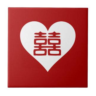 Doppeltes Glück • Herz • Mutiges Rot Keramikfliese