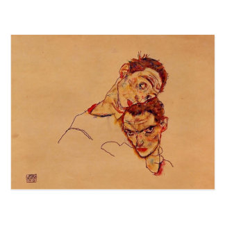 Doppeltes Selbstporträt Egon Schiele- Postkarte