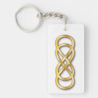 Doppeltes Unendlichkeits-Gold - Schlüsselkette Einseitiger Rechteckiger Acryl Schlüsselanhänger