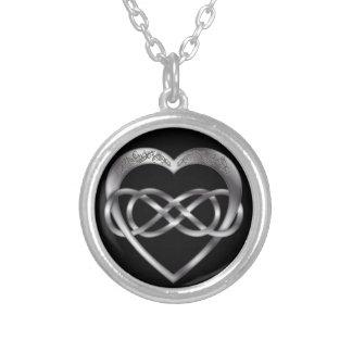 Doppeltes Unendlichkeits-Silber-Herz 2 - Halskette
