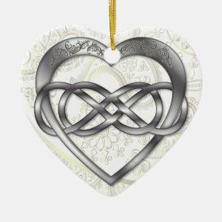 Doppeltes Unendlichkeits-Silber-Herz 2 - Verzierun Ornament